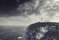 De kaapvuurtoren van Caboda Roca in Portugal Royalty-vrije Stock Afbeelding