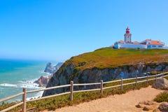 De kaapvuurtoren van Roca in Portugal Stock Foto's