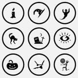 De kaars, de hoed van de astroloog, spook, kat, scheurt, oog, pompoen, knuppels, e Royalty-vrije Stock Afbeelding