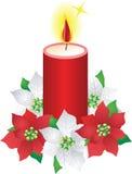 De kaars en de poinsettiabloemen van Kerstmis Royalty-vrije Stock Foto