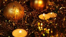 De kaars Gouden fonkelende Achtergrond van het Kerstmisnieuwjaar stock footage
