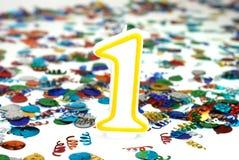 De Kaars van de viering - Nummer 1 Stock Foto's