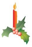 De kaars van Kerstmis met hulst stock illustratie