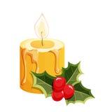De kaars van Kerstmis met hulst Vector beschikbare illustratie Stock Fotografie