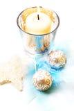 De kaars van Kerstmis, stilleven. Stock Foto's