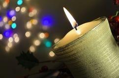 De Kaars van Kerstmis van Bokeh stock fotografie