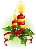 De kaarsen en de hulst van Kerstmis Stock Afbeelding
