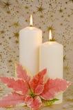 De Kaarsen en de Poinsettia van Kerstmis Royalty-vrije Stock Foto
