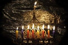 De kaarsen van Chanuka Stock Foto's