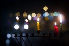 De kaarsen van de Chanoeka Stock Foto's