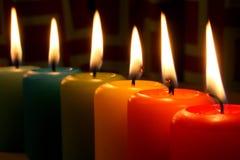 De kaarsen van de regenboog Stock Fotografie