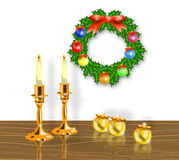 De kaarsen van Kerstmis met kroon vector illustratie
