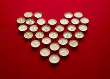 De Kaarsen van valentijnskaarten Royalty-vrije Stock Afbeeldingen