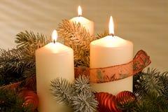De kaarsendecoratie van Chrismas Stock Fotografie