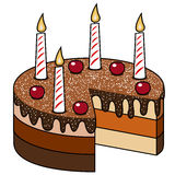 De Kaarsenkersen Geïsoleerde Kaarsen van de cakechocolade Royalty-vrije Stock Fotografie