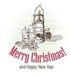 De kaarsenlamp van de kerstkaart vector retro stijl getrokken schets stock afbeelding