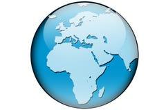 De kaart Afrika en Europa van de wereld Stock Fotografie