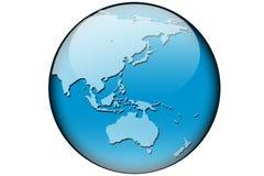 De kaart Azië en Australië van de wereld Stock Foto