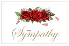 De kaart bloemen rood rozen van de deelnemingssympathie boeket en het van letters voorzien vector illustratie