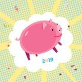 2019 de kaart conceptuele illustratie van de Nieuwjaargroet met varken royalty-vrije illustratie