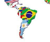 De kaart 3d illustratie van Zuid-Amerika op wit Stock Afbeelding