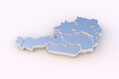 De kaart 3D metaal van Oostenrijk met trapsgewijze en het knippen van staten weg Stock Fotografie