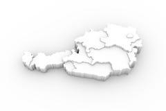 De kaart 3D wit van Oostenrijk met trapsgewijze en het knippen van staten weg Stock Afbeeldingen