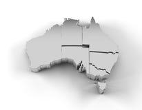 De kaart 3D zilver van Australië met trapsgewijze en het knippen van staten weg Stock Foto's