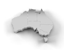 De kaart 3D zilver van Australië met staten en het knippen weg Royalty-vrije Stock Foto