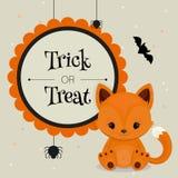 De kaart of de achtergrond van Halloween met weinig vos Stock Afbeeldingen