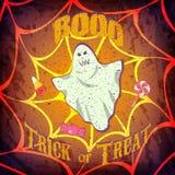 De kaart of de affiche van Grungehalloween met spook en candys Stock Afbeelding
