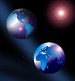 De kaart of de bol van de wereld Stock Afbeelding