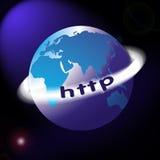 De kaart of de bol van de wereld met HTTP rond ring royalty-vrije illustratie