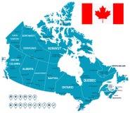 De kaart, de vlag en de navigatieetiketten van Canada - illustratie Royalty-vrije Stock Afbeeldingen