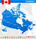 De kaart, de vlag en de navigatiepictogrammen van Canada - illustratie Royalty-vrije Stock Afbeeldingen