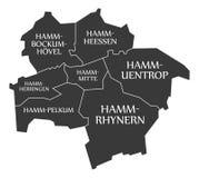 De kaart Duitsland DE van de Hammstad geëtiketteerd zwarte illustratie Stock Afbeeldingen