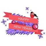 De kaart is een inschrijving voor het nieuwe jaar Stock Afbeelding