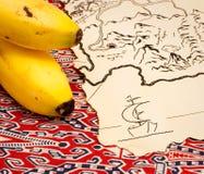De kaart en de bananen van de schat stock afbeelding
