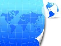 De kaart en de bol van de wereld Stock Fotografie