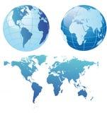 De kaart en de bollen van de wereld Stock Afbeelding