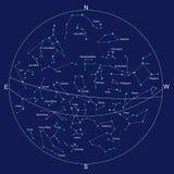 De kaart en de constellaties van de hemel met titels vector illustratie