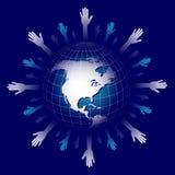 De kaart en de handen van de wereld Stock Afbeeldingen