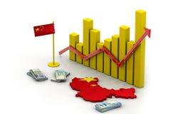 De kaart en de munt van China Stock Afbeelding