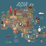 De kaart en de reis van Azië Stock Foto's
