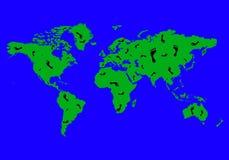 De kaart en de sporen van de wereld Stock Foto's