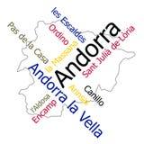 De kaart en de steden van Andorra royalty-vrije illustratie