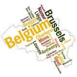 De kaart en de steden van België Stock Foto's