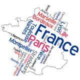 De kaart en de steden van Frankrijk Stock Fotografie