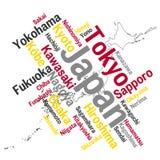 De kaart en de steden van Japan Stock Afbeelding