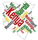 De kaart en de steden van Kenia Stock Afbeelding
